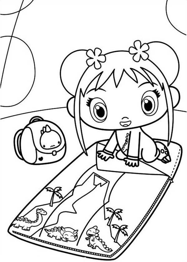 Kai Lan Folding Her Bed Coloring Page