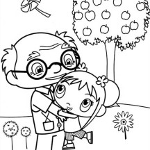 Kai Lan Love Her Grandpa Very Much in Ni Hao Kai Lan Coloring Page