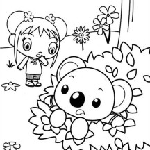 Kai Lan Saw Tolee Stuck in a Bush Coloring Page