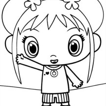 Kai Lan Waving Her Hand in Ni Hao Kai Lan Coloring Page