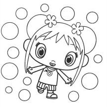 Kai Lan and Bubbles in Ni Hao Kai Lan Coloring Page