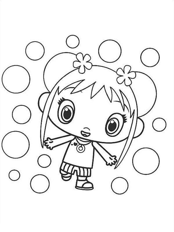 Kai Lan and Bubbles in Ni Hao Kai Lan Coloring Page