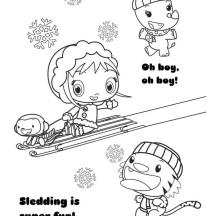 Kai Lan and Friends Play Sliding in Ni Hao Kai Lan Coloring Page