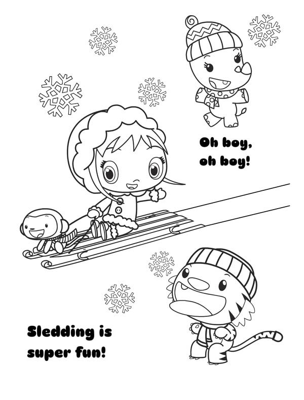 Kai Lan and Friends Play Sliding in Ni Hao Kai Lan Coloring Page