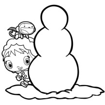 Kai Lan and Hoho Build a Snowman in Ni Hao Kai Lan Coloring Page