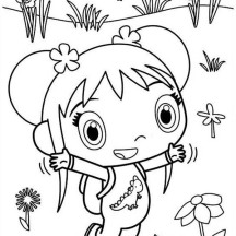 Kai Lan at Garden of Flower Coloring Page
