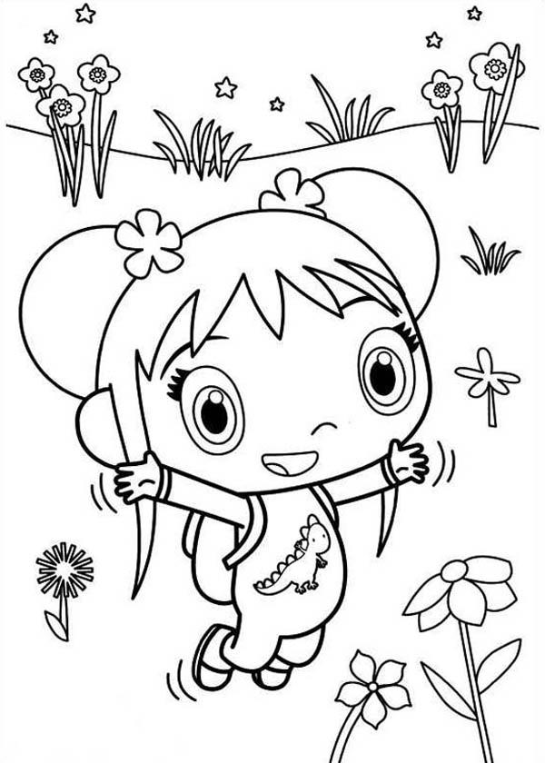 Kai Lan at Garden of Flower Coloring Page