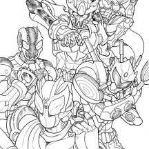 Kamen Rider All Version Coloring Page
