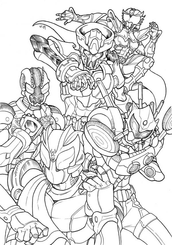 Kamen Rider All Version Coloring Page Netart
