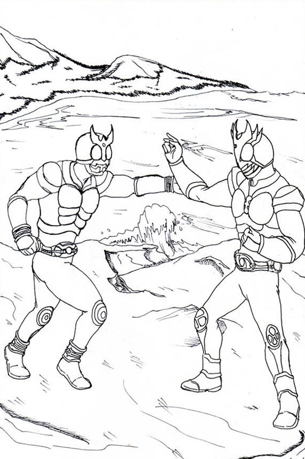 Kamen Rider Kuuga and Agito Coloring Page