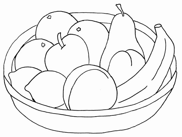Kids Drawing a Basket of Fruit Coloring Page