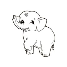 Little Elephant Lift One Leg Coloring Page