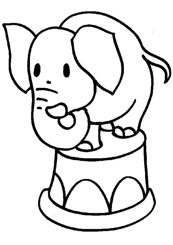 Little Elephant Standing on a Bucket Coloring Page