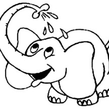 Little Elephant Take a Bath Coloring Page