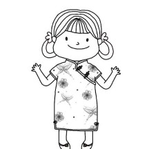 Little Girl Wearing Chinese Dress in Chinese Symbols Coloring Page
