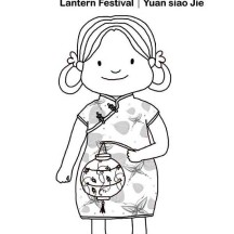 Little Girl and Her Lantern Ready for Chinese New Year in Chinese Symbols Coloring Page