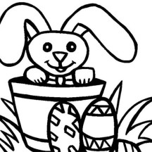 Long Eared Bunny and Easter Eggs Coloring Page