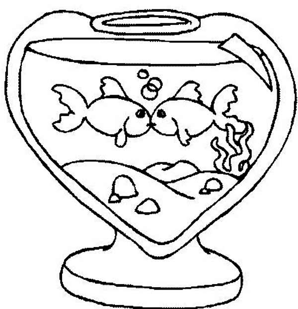 Love Shapped Fish Tank Coloring Page