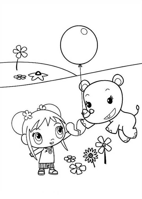 Lulu Playing Balloon with Kai Lan in Ni Hao Kai Lan Coloring Page