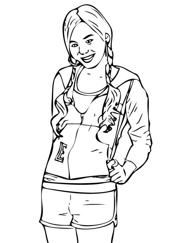 Miley Braided Hair In Hannah Montana Coloring Page Netart