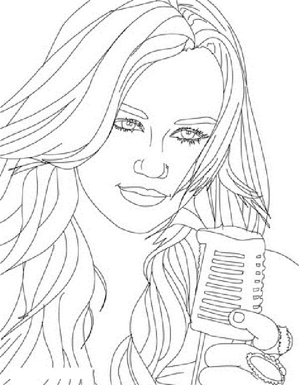 Miley Has Beautiful Voice in Hannah Montana Coloring Page