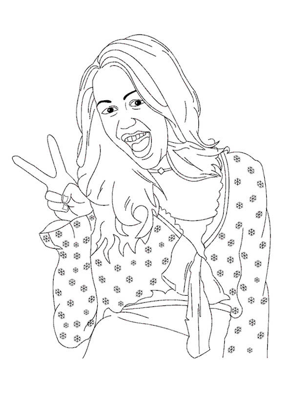Miley Stewart Peace Sign in Hannah Montana Coloring Page