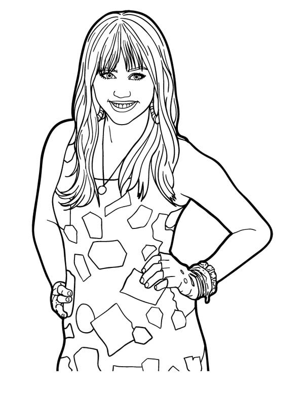 Miley Stewart Posing in Hannah Montana Coloring Page