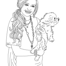 Miley and Her Cute Dog in Hannah Montana Coloring Page