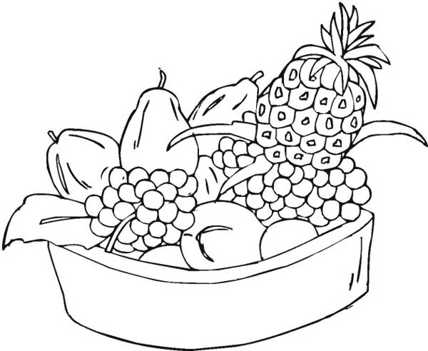Fruit Basket Coloring Page » Printable Coloring Page » Artus Art | 492x600