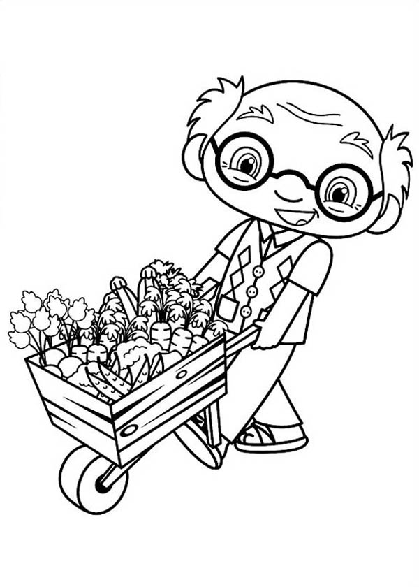 Mr Ye Ye Kai Lan Grandpa Pulling Cart Full of Flowers in Ni Hao Kai Lan Coloring Page