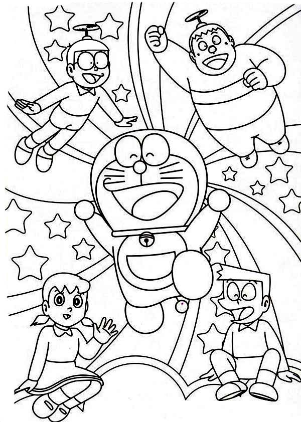 Nobita shizuka suneo giant doraemon happy together for Disegni da colorare doraemon