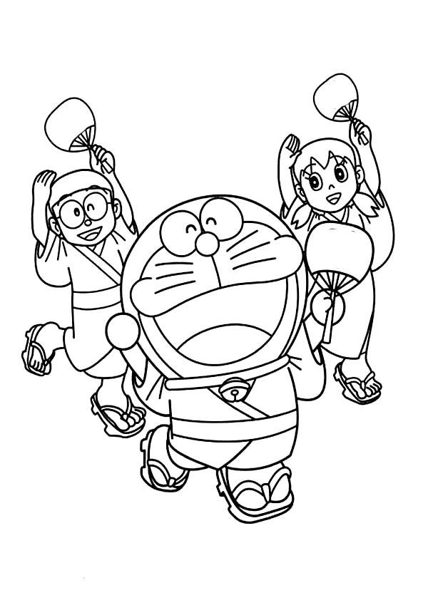 Nobita Shizuka and Doraemon Wearing Yukata Dance Together Coloring Pages