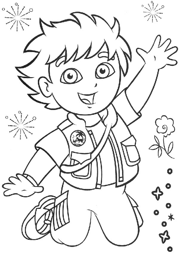 Picture of Go Diego Go Coloring Page