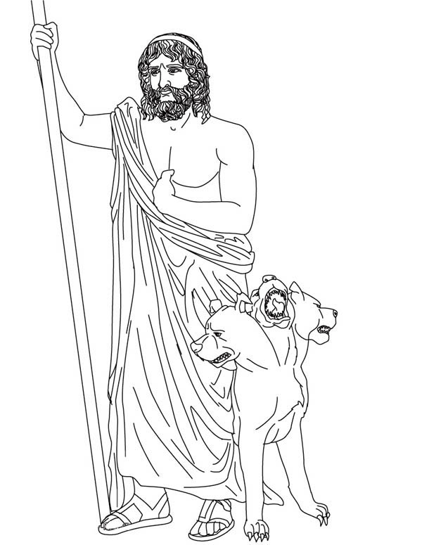 Picture of Hades and Cerberus Coloring Page