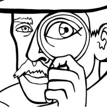 Picture of a Detective Coloring Page