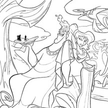 Pictures of The Evil Hades and Megara Coloring Page
