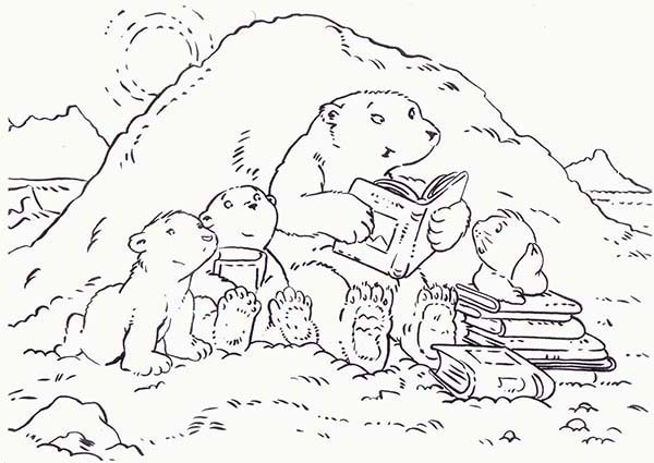 Polar Bear Mom Telling Bed Time Story to Her Childrens Coloring Page