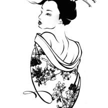Preety Girl Geisha Coloring Page