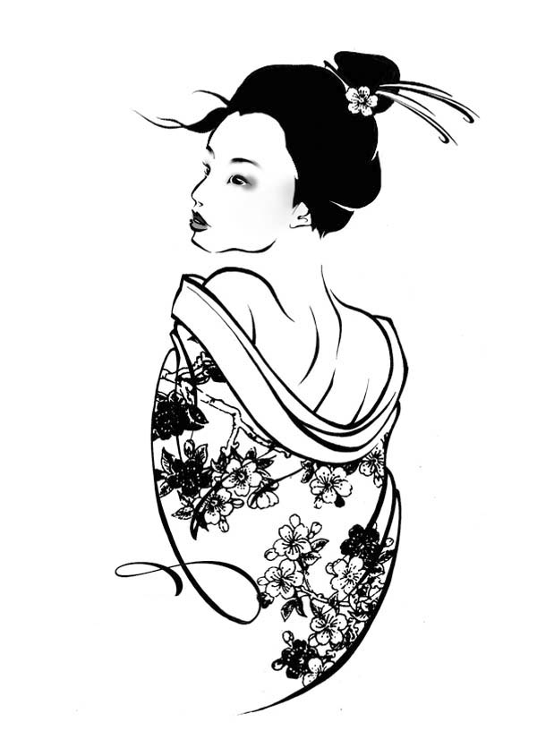 Printable Geisha Coloring Pages 30 High definition coloring pages ... | 845x600