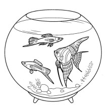 Pretty Fish Tank Coloring Page