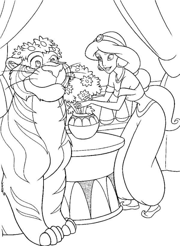 Princess Jasmine and Rajah Flower Decoration Coloring Page
