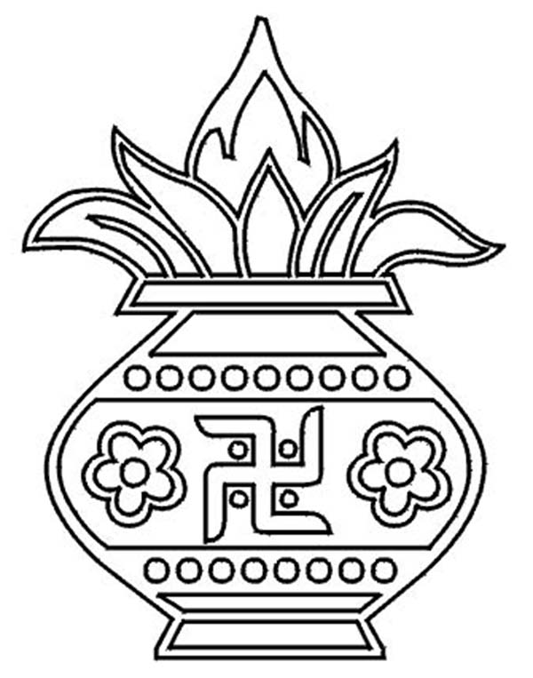 Rangoli for Diwali Celebration Coloring Page