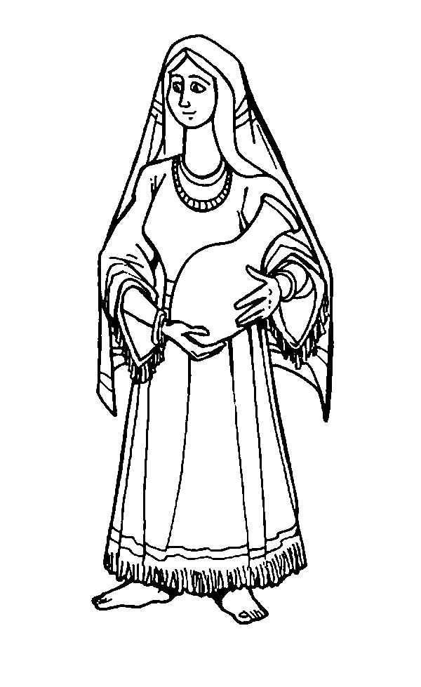 Football coloring pages black white christianity bible ~ Rebbeca Holding a Pitcher in the Bible Heroes Coloring ...