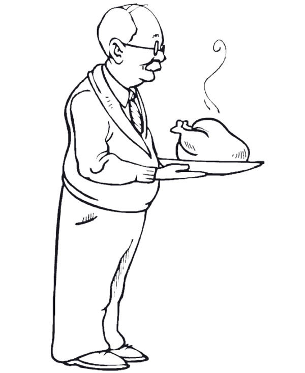 Roast a Turkey for Gran Parents Day Celebration Coloring Page