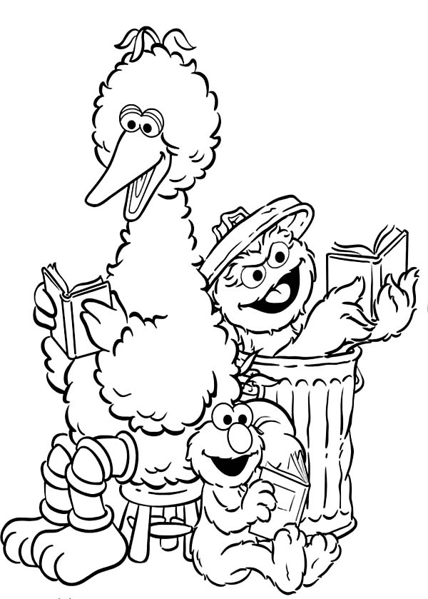 Sesame Street Elmo and Friends Coloring Page