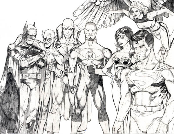 Sketch Of Justice League Coloring Page Netart