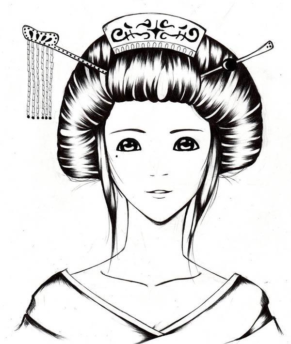 Sketch of a Geisha Coloring Page