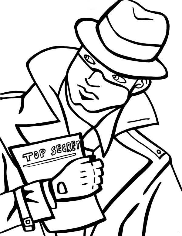 Spy Detective Holding Secret File Coloring Page