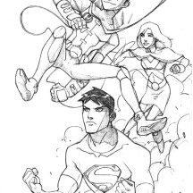 Superma and Robin from Young Justice League Coloring Page