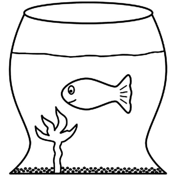 Take Care a Fish in Fish Tank Coloring Page